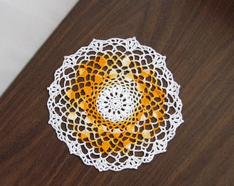 Yellow Spring Decor Crochet Lace Doily, Table Decoration, 9 Inch Doily, Summer Colors, Golden Yellow and White, Cottage Chic Home Decor