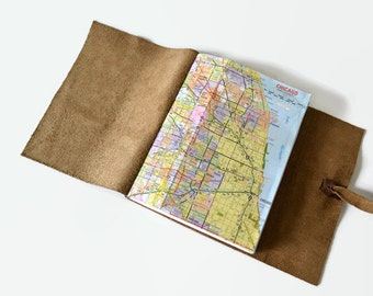 Map Gifts, Chicago Gifts, Chicago Notebook Personalized Travel Journal Leather, Chicago Map Journal, Travel Notebook, Choc 6x8 Lavender