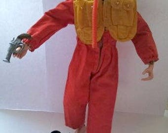 Vintage GI Joe Action Fighter Pilot with Mae West Vest and Accessories