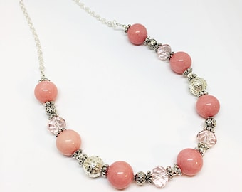Pink Quartz and Crystal Necklace