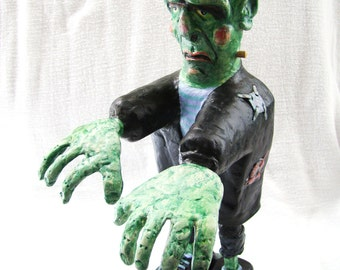 FRANKIE Frankenstein Hand Crafted Figure - Halloween Decoration - One of a Kind