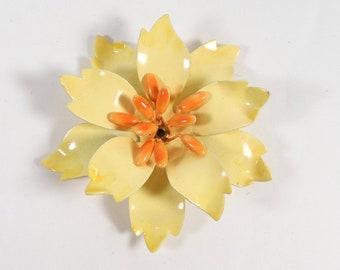 Vintage Metal Enamel Flower Pin Enamel Flower Brooch