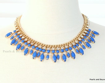 Blue Resin Stone Rhinestone Bib Necklace Royal Blue Statement Necklace