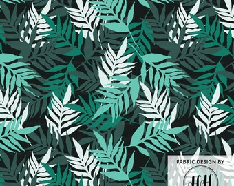 Tropic Leaves Fabric / Hawaiian Tropical Fabric / Green Monochrome / Palm Leaf Fabric / Modern Summer Print Fabric by the Yard & Fat Quarter