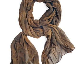 "Brown silk scarf - silk chiffon scarf - crinkle scarf- brown, taupe, tan, gold - earth tones - warm neutral tones - hand dyed - 17"" x 74"""