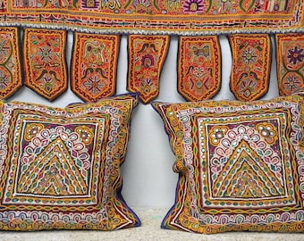 A Pair of Vintage Banjara Large cushion cover, hand Embroidered Gypsy cushion, Decorative Cushion cover, Boho cushion, hippie pillow case
