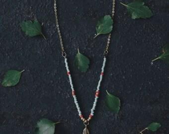 Boho necklace, turquoise necklace, hippie necklace, feather necklace, boho jewelry, bohemian jewelry, beaded necklace, bohemian necklace