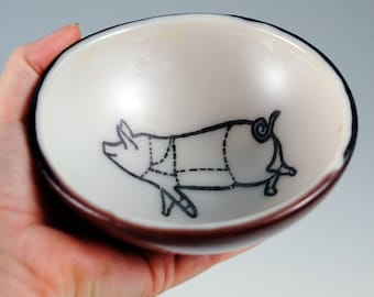 Pig Small Fused Glass Bowl