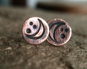 Small Moon Phase Studs - Rustic Copper Waxing / Waning Crecent Lunar Earrings - Unique 7th Anniversary Goddess Jewelry Gifts for Her