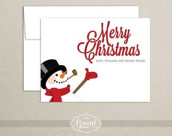Personalized Snowman Holiday Cards - Christmas Card - Merry Christmas - Notecard - Folded Card