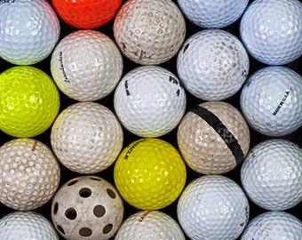 Golf Balls Photograph, Abstract Art Print, White, Yellow, Orange Golf Balls,  Wall Art, Home Decor, Golf Meeting, Sports Photo