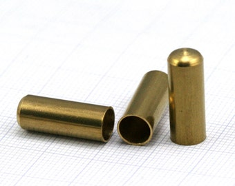 ribbon end caps , 7 X 19 mm 6.2 mm inner raw brass cord  tip ends,  ends cap, findings ENC6 1452