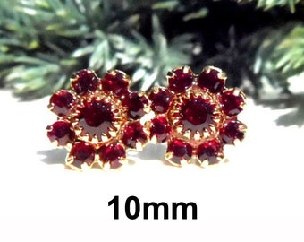10mm Siam Gold Cluster Rhinestone Earrings, Deep Red Crystal Cluster Studs