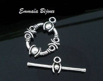4 clasps metal Toggle silver 13 x 17 mm
