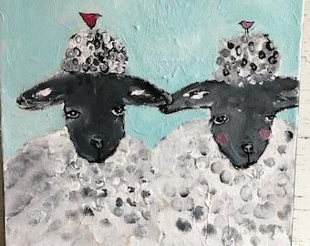 Sheep painting whimsical sheep painting original painting 12 x 12 farmyard animal bird art