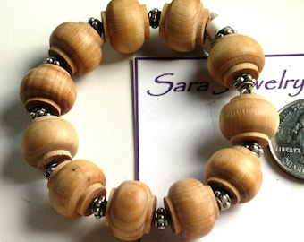 Wooden Lantern Style Bead and Pewter Spacer Bead Stretch Bracelet
