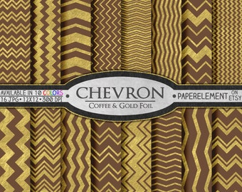 Mocha Brown and Gold Digital Background: Brown and Gold Printable Paper - Gold and Brown Digital Backdrop - Gold and Brown Chevron Patterns