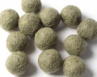 Pack 12 Heather Sage Hand Felted Wool Felt Balls 2 CM Handbehg Felts Fiber Crafts