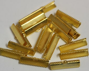 Gold 1 Inch Ribbon Ends Crimp 20pc