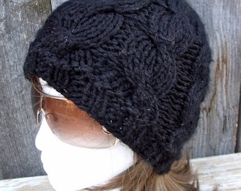 Women's Chunky Cable Knit Hat in Black, Slouchy Beanie, knit Accessories