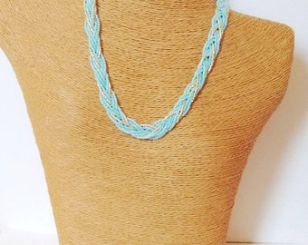 Mint necklace, bridesmaid necklace, beaded necklace, seed bead necklace, bridesmaid gifts,wedding jewelry,braid necklace,mint and gold