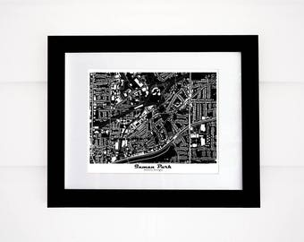 Inman Park! Atlanta Map Print, Black and White