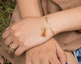 Bracelet HYDRA - émaillée avec anneau, étoile et pompon tricolore beige, taupe et vieux rose