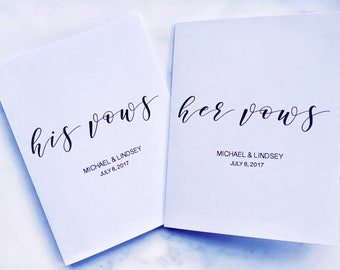 Vows Notebooks - His and Hers Customized Vow books for your Wedding Day (2 Notebooks)