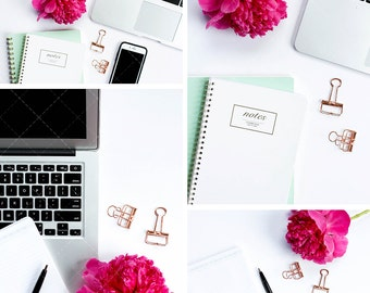Bright Office Creative Stock Photos for Bloggers | Home Office Styled Stock Photography | Set of 4 Hi-Res Images