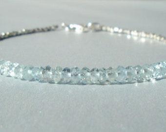 Aquamarine Bracelet, Silver Bracelet, March Birthstone, Dainty Beaded Gemstone Bracelet, Karen Hill Silver, Skinny Bracelet, Minimalistic