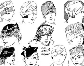 Ruth Wyeth Spears Hat Collection Flapper Style Sewing Instructions from the 1920s and 1930s - Downloadable PDF Pattern