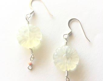 Pineapple Quartz Flower Earrings