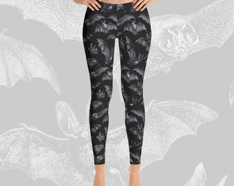 Bat leggings Gothic clothing Dark fashion Womens Art Printed Wiccan Witch Witchy Alternative Creepy cute Punk Vintage Hot topic Heavy metal