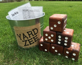 Yard-Zee Tailgating Game, Complete set with SIX wooden dice, pail, scorecards, & marker!  Customize with your favorite team colors!!!