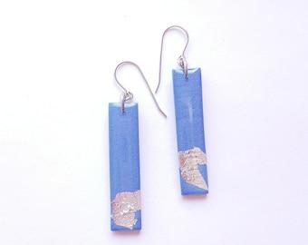 BLUE Shrimmer Dangle Bar Earrings