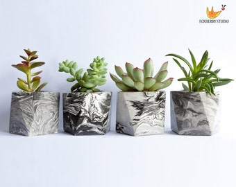 Made to Order Black and White Marbled Geometric Planter / Succulent Planter / Unique Gift
