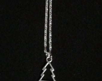 Christmas Tree Cutout Shape Charm Silver Plated Necklace with Lobster Claw Clasp