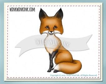 Digital Stamp - Foxy - sitting red  fox  -  wildlife digi stamp -  Clip art