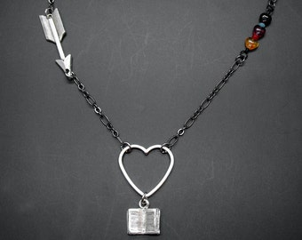 Heart Arrow Book Necklace Readers Bookish Gift Bibliophile Literary Jewelry
