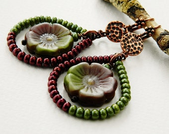 Handmade Large Floral Earrings, Statement Lime & Oxblood Dangle Earrings, Romantic Bohemian Earrings