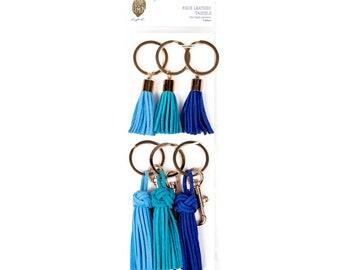 Love+Lemon Faux Leather Tassels, Gold Key Ring and Bolt Snap, 6 pcs
