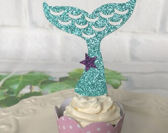 Mermaid tail cupcake toppers, Little mermaid cupcake, Mermaid party , Sea party, Under the sea cupcake toppers, Set of 12