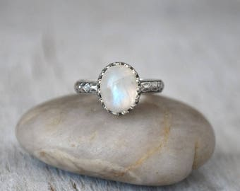 Rainbow Moonstone Ring in Sterling Silver - Oval Rainbow Moonstone Gemstone Ring - Handcrafted Artisan Silver Ring