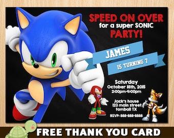Sonic Invitation, Sonic The Hedgehog Invites, Sega Sonic Birthday Invitation- free thank you card