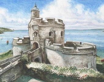 St Mawes Castle ORIGINAL watercolor painting, English castle painting, English landscape, English seascape, FREE shipping