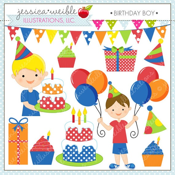 birthday boy cute digital clipart for commercial or personal rh etsy com birthday boy clipart black and white birthday boy clipart png