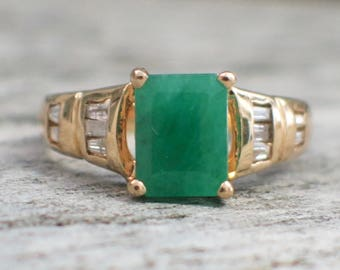 14K Yellow Gold Emerald and Diamond Accented Ring