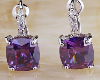 Simulated Purple Amethyst and Cz Cubic Zirconia lever back sterling silver earrings