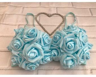 Handmade Blue Rose Bralet, Made To Order, Custom Made