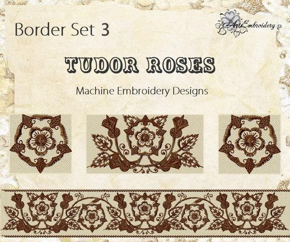 Tudor Roses Border Set 3 Machine Embroidery Designs